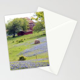 Old Red Barn and Rolling Bluebonnet Hills Stationery Cards