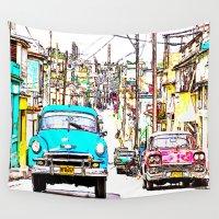 cuba Wall Tapestries featuring Cuba , calle de La Habana  ( Cuba , Havana street ) by arnedayan