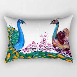 Peacock and Peahen Rectangular Pillow