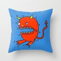 diablo Throw Pillows featuring Huevo diablo by sitnuna