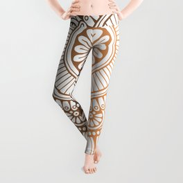 Gold Bronze Mandala Pattern Illustration Leggings