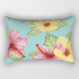 Tropical Hawaiian Hibiscus Floral Print Rectangular Pillow