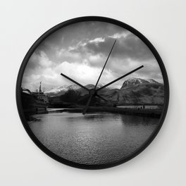 Scottish Highlands Ben Nevis from Caledonian Canal B & W Wall Clock