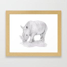 Rhino Pencil Sketch Framed Art Print