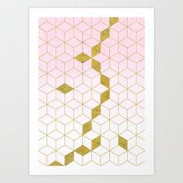 Pink & Gold Gradient Cubes Art Print