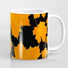 Orange Maple Leaves Black Background #decor #society6 #buyart Coffee Mug