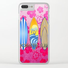 Born To Surf Pink Tropical Flowers Clear iPhone Case