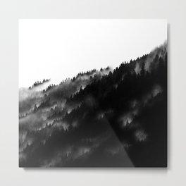 Black and White Fog Forrest Metal Print