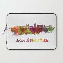 San Sebastian skyline in watercolor  Laptop Sleeve