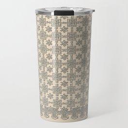 Warm Sepia Crochet Square Lace Pattern Travel Mug