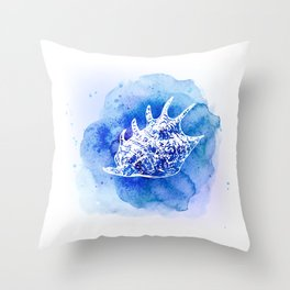 Blue Abstract Watercolor Seashell Rubber Stamp on White 6 Minimalist Coastal Art Throw Pillow