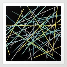 Pick Up Sticks - Black Art Print
