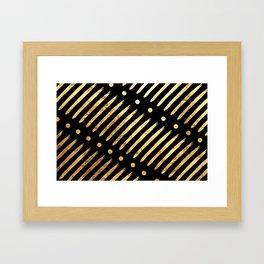 Dots & Dashes on Black Framed Art Print