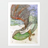 beth hoeckel Art Prints featuring Power Beth by K. Fry Illustration
