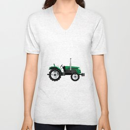 Green Isolated Tractor Unisex V-Neck