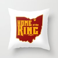 lebron Throw Pillows featuring Home of the King (White) by Denise Zavagno