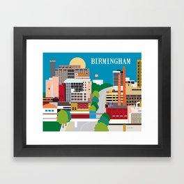Birmingham, Alabama - Skyline Illustration by Loose Petals Framed Art Print