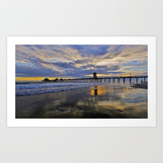 Labor Day 2013 ~ Sunset HB Pier        Art Print