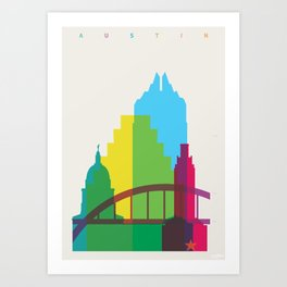 Shapes of Austin. Accurate to scale. Art Print