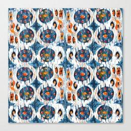 blue circle balinese ikat print mini Canvas Print