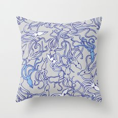 Squids of the inky ocean Throw Pillow