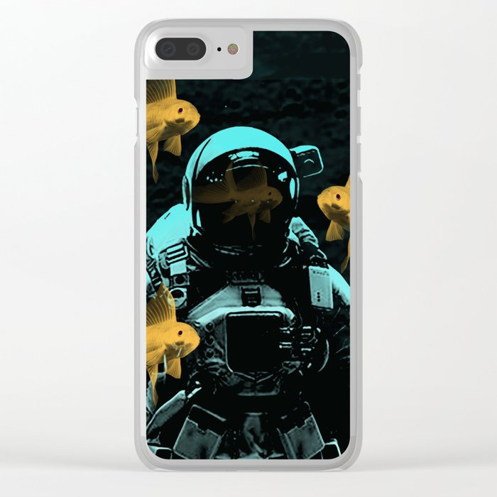 astronauts and goldfish Clear iPhone Case