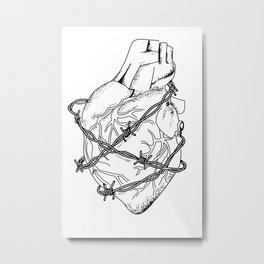 Heart In Barbed Wire , Original (Inktober Day 13: Guarded) Metal Print
