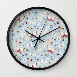 Watercolor Floral Butterfly Meadow Wall Clock