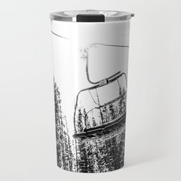 Empty Skilift // Black and White Snowboarding Dreaming of Winter Travel Mug