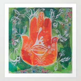 Hamsa Hand in Oranges Art Print