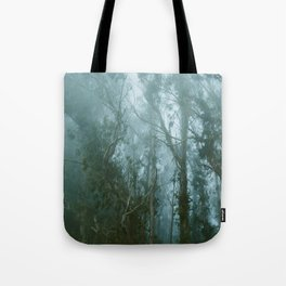 Misty Grove at Dusk Tote Bag