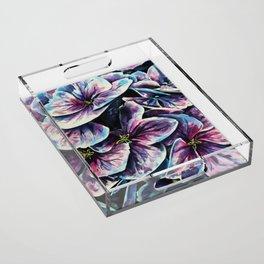 purple flowers watercolor art Acrylic Tray