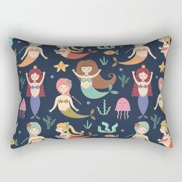 Hand drawn navy blue teal yellow mermaids illustration Rectangular Pillow