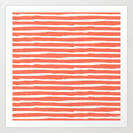 Thin Stripes White on Deep Coral Art Print