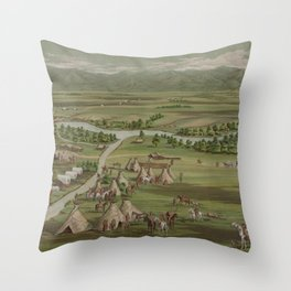 Vintage Pictorial Map of The Denver Settlement (1891) Throw Pillow