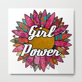Girl Power Retro Flower Metal Print