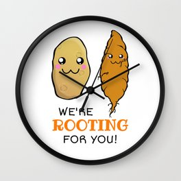 We're Rooting For You Cute Vegetable Pun Wall Clock