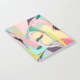 Shapes and Layers no.23 - Abstract Draper pink, green, blue, yellow Notebook