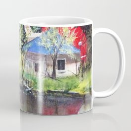 Red Barn On Lake Coffee Mug