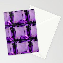EMERALD CUT PURPLE FEBRUARY AMETHYST GEMS Stationery Cards