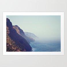 Hawaii Mountains Along the Ocean Art Print