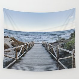 """""""Walking to the beach....."""" At sunset Wall Tapestry"""