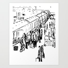 The Holiday Special Train Station Illustration Art Print
