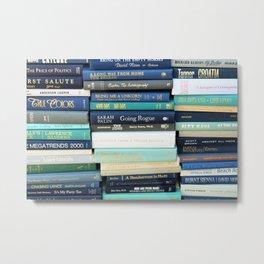 Bookworm in Blue Metal Print