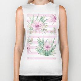 Simply Striped Cactus Desert Rose Pink Biker Tank
