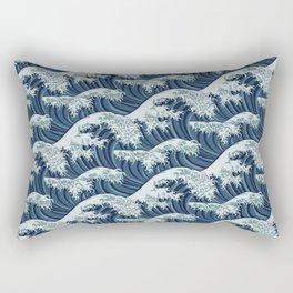 Japanese style water waves pattern Rectangular Pillow