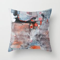 grey red 1 Throw Pillow