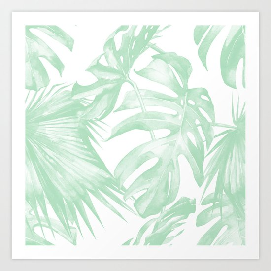 Light Green Tropical Palm Leaves Print Art Print