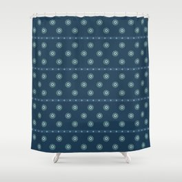 Blue Circles on Blue Shower Curtain