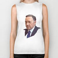 frank underwood Biker Tanks featuring Frank Underwood Low Poly by Breno Bitencourt